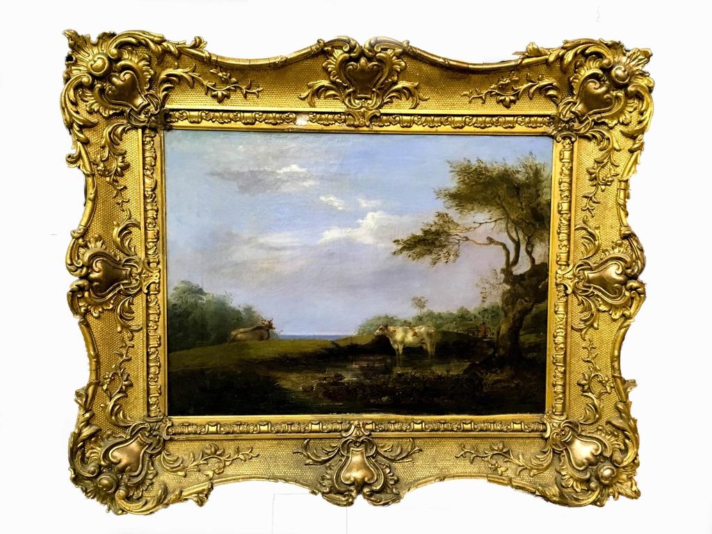 """Картина """"Пейзаж с коровой"""" 19 век-9"""