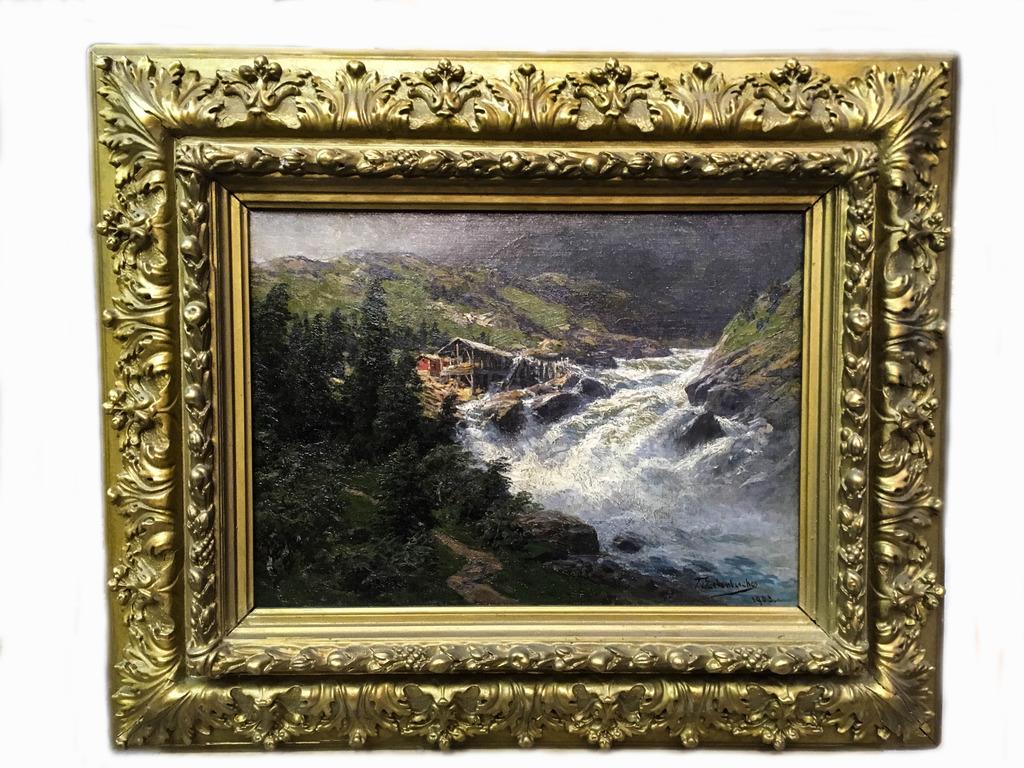 "Картина ""Пейзаж с водопадом"" 1903 г.-8"