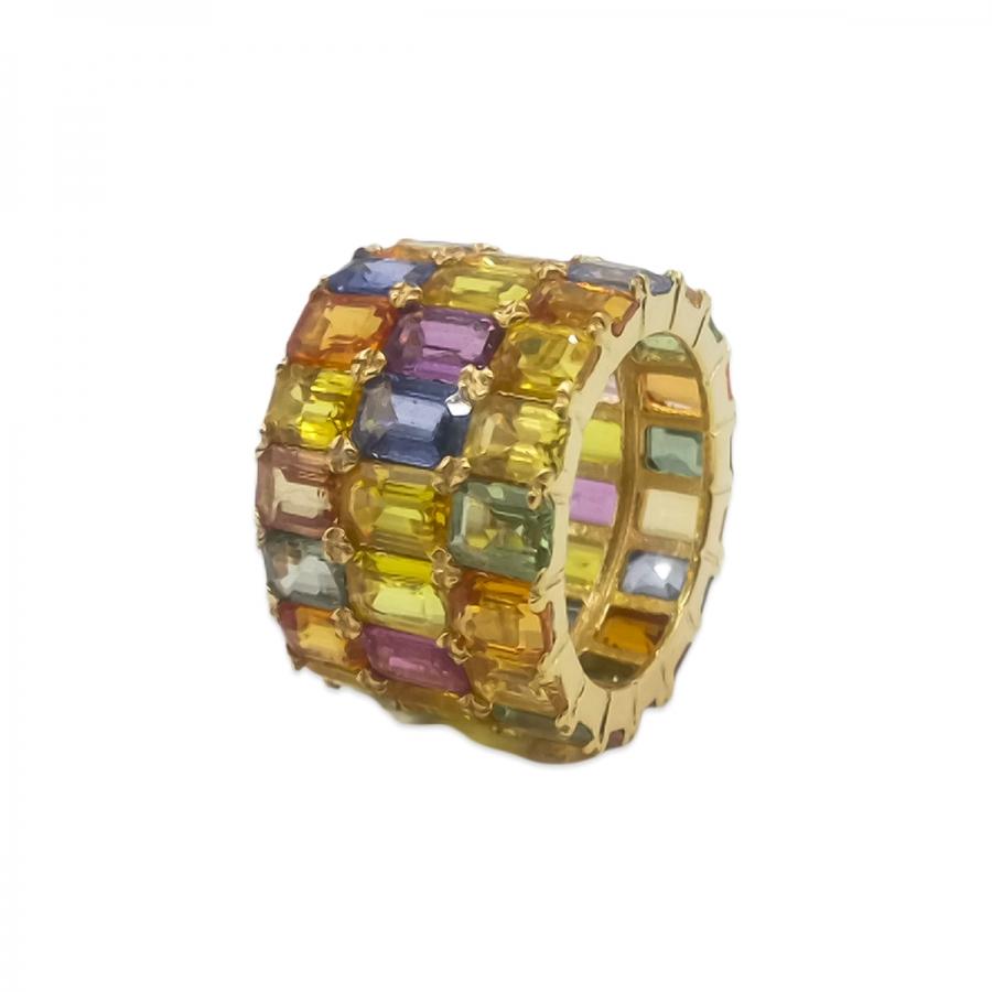 Золотое кольцо с цветными сапфирами-7