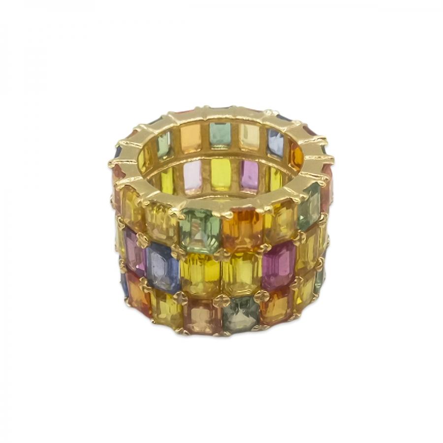 Золотое кольцо с цветными сапфирами-8