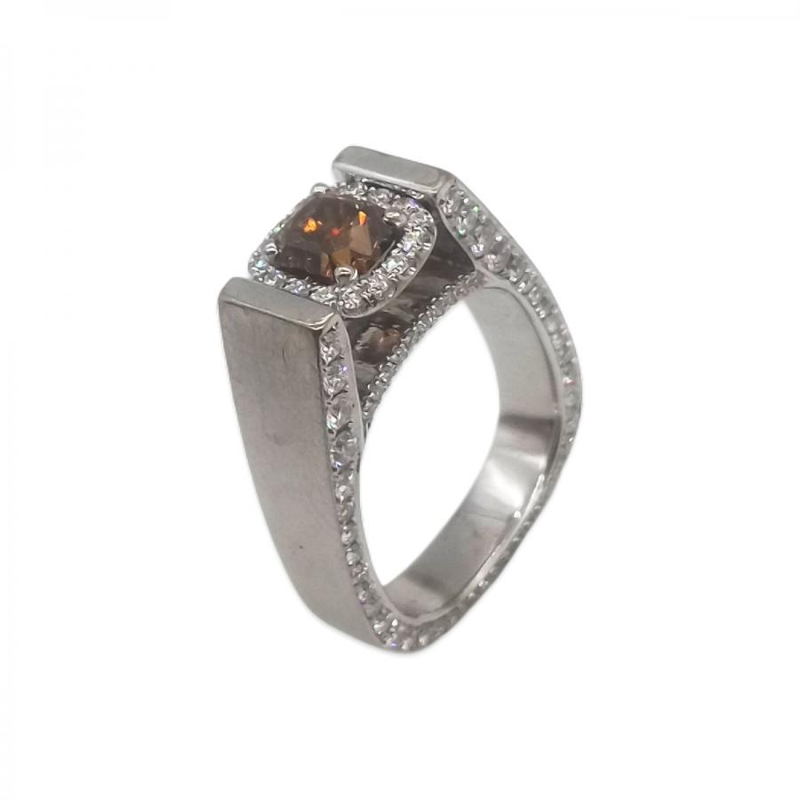 Золотое кольцо Mozaffarian с бриллиантом 0,95 ct-1