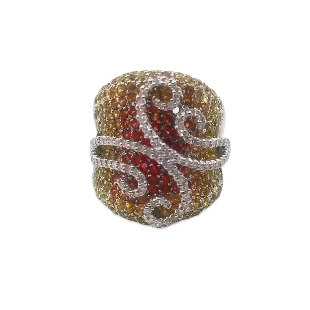 Золотое кольцо с желтыми и оранжевыми сапфирами и бриллиантами-2