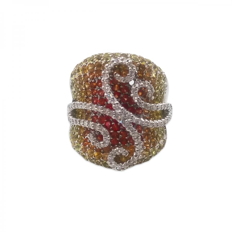 Золотое кольцо с желтыми и оранжевыми сапфирами и бриллиантами-6