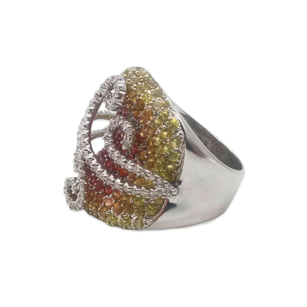Золотое кольцо с желтыми и оранжевыми сапфирами и бриллиантами-3