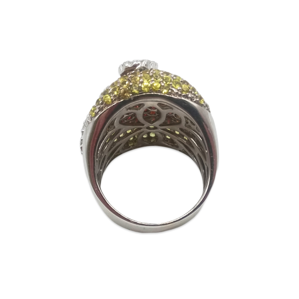 Золотое кольцо с желтыми и оранжевыми сапфирами и бриллиантами-4