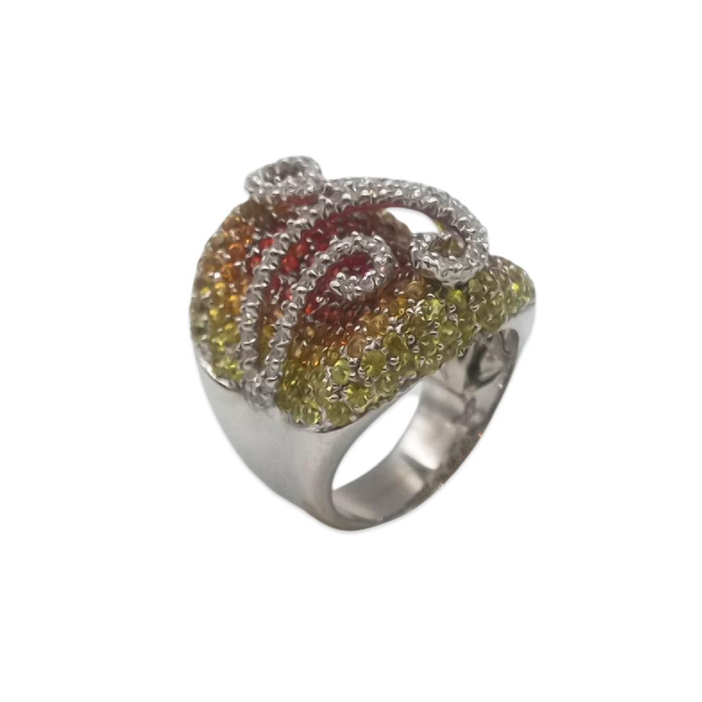 Золотое кольцо с желтыми и оранжевыми сапфирами и бриллиантами-1