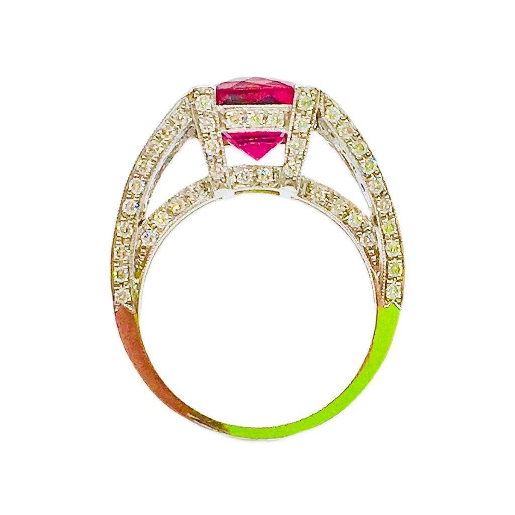 Платиновое кольцо с Рубеллитом и Бриллиантами-3