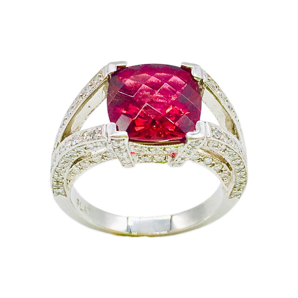 Платиновое кольцо с Рубеллитом и Бриллиантами-4