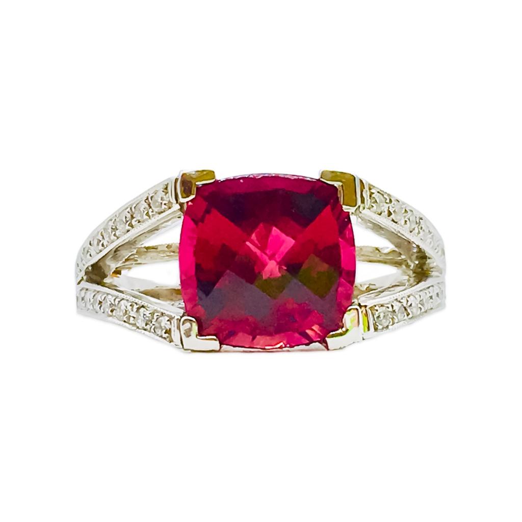 Платиновое кольцо с Рубеллитом и Бриллиантами-5