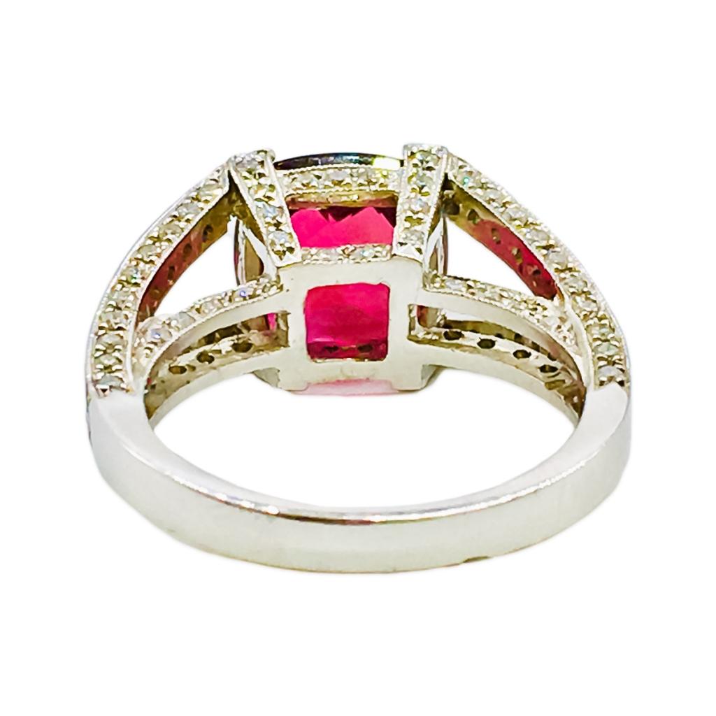 Платиновое кольцо с Рубеллитом и Бриллиантами-6