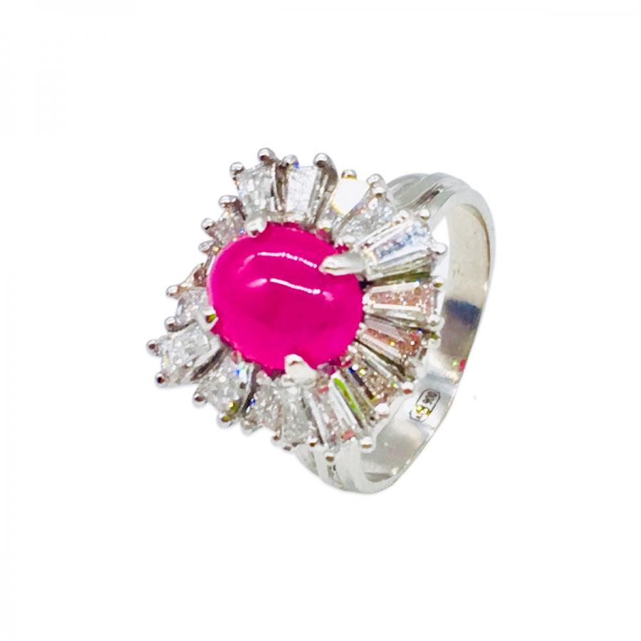 Платиновое кольцо с Рубином и Бриллиантами-3