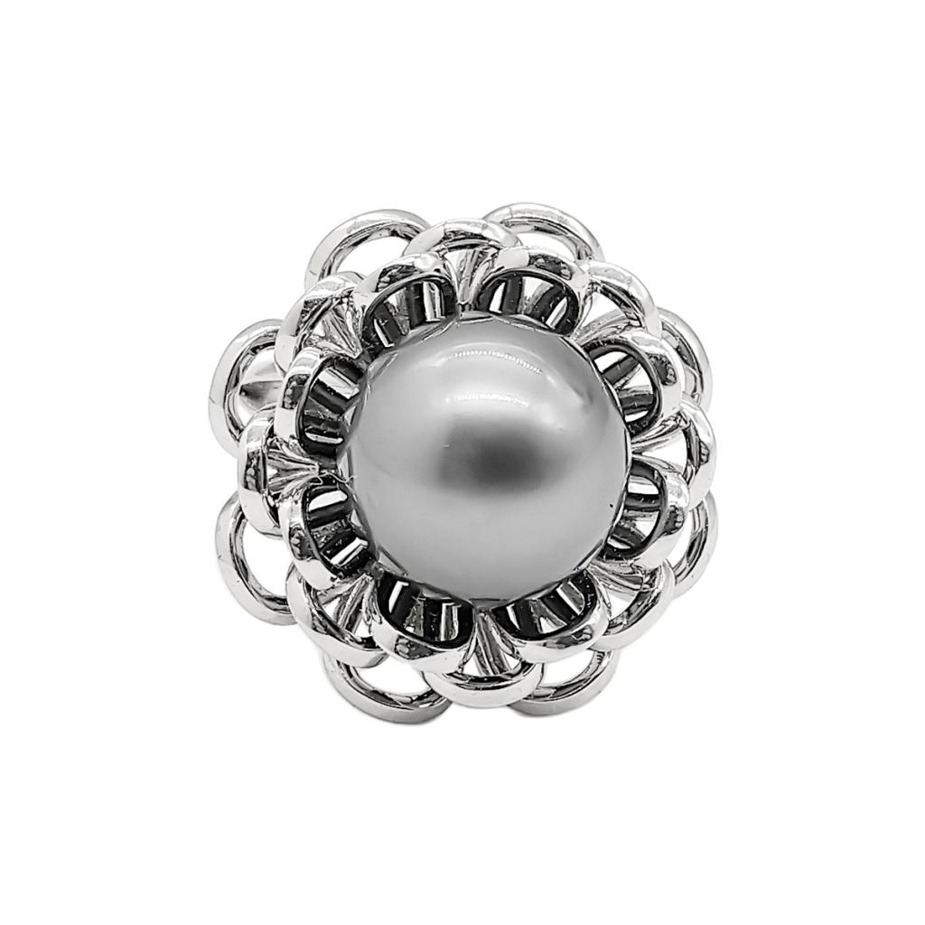 Золотое кольцо с чёрным жемчугом-6
