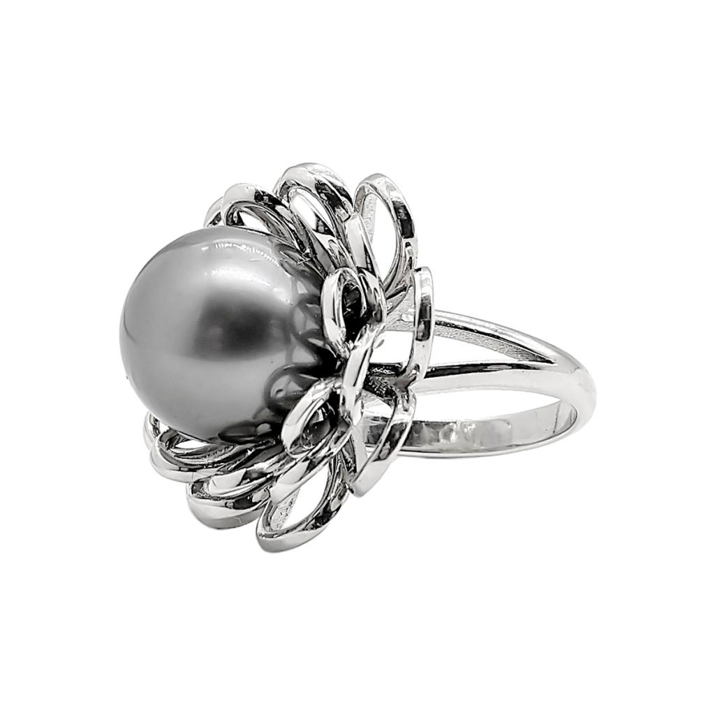 Золотое кольцо с чёрным жемчугом-1