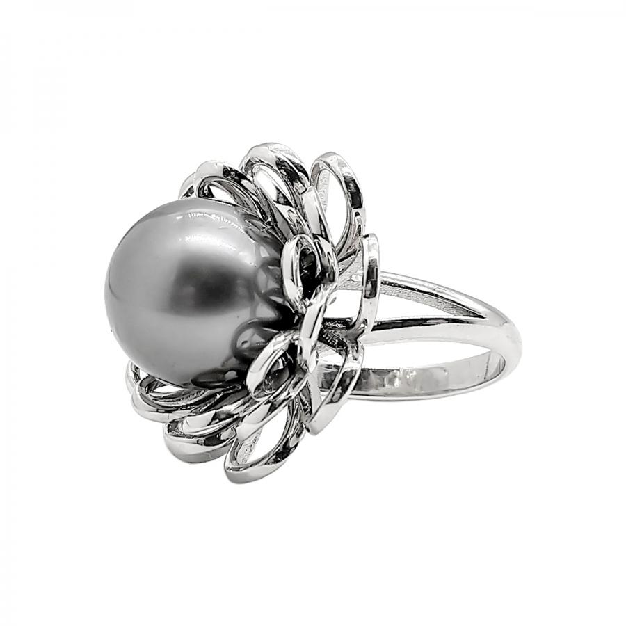 Золотое кольцо с чёрным жемчугом-2