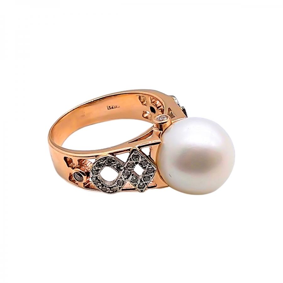 Золотое кольцо с жемчугом и бриллиантами-8