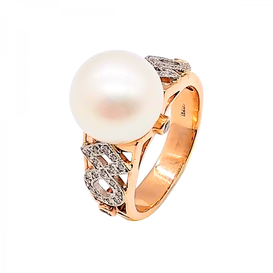 Золотое кольцо с жемчугом и бриллиантами-7