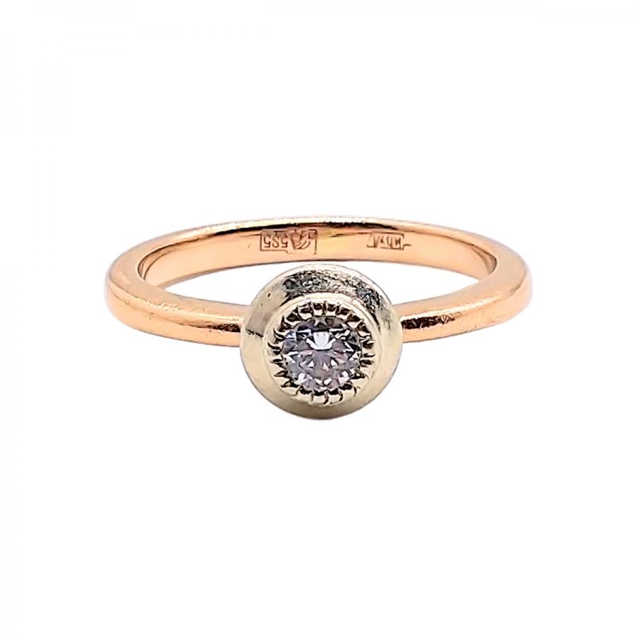 Золотое кольцо с бриллиантом 0,23 ct-1