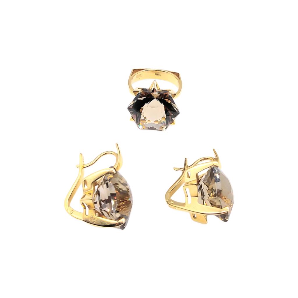 Золотой Комплект с Раух-Топазами-2