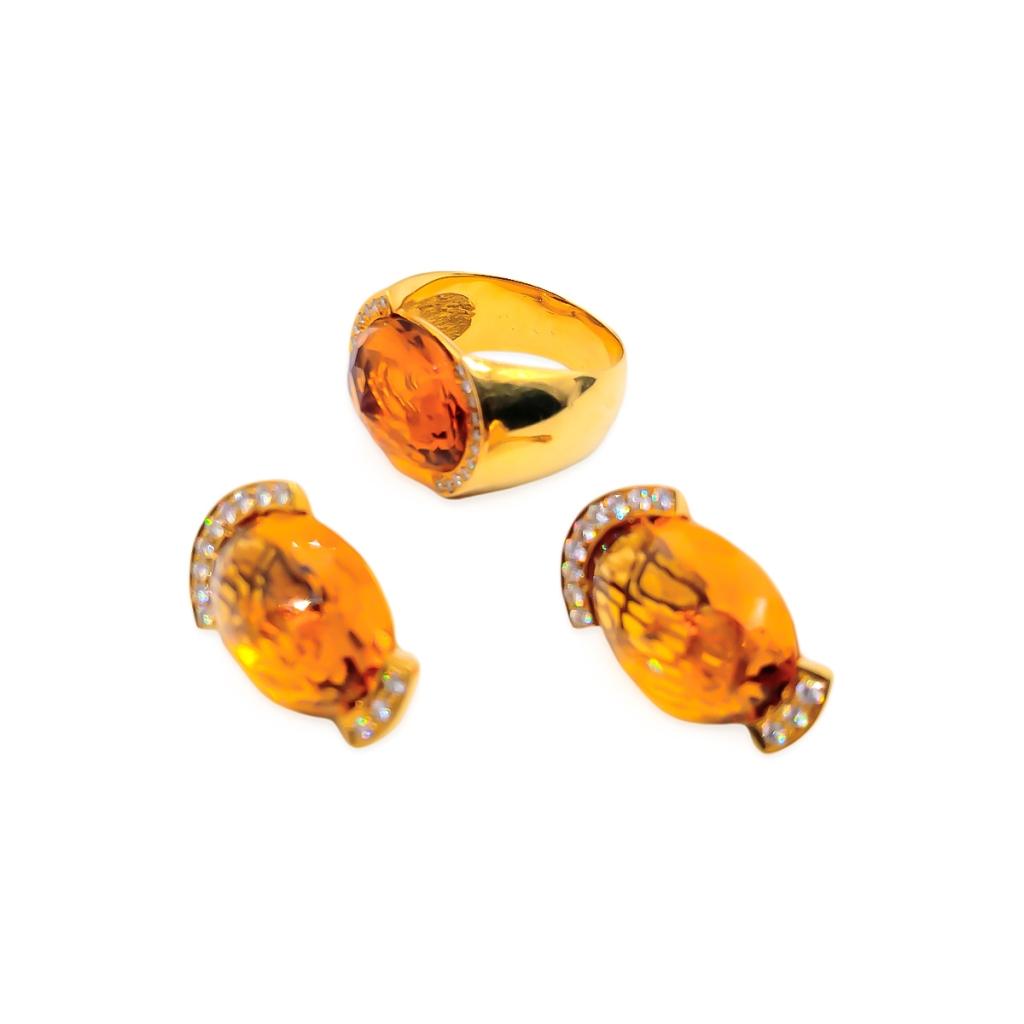 Золотой комплект с цитринами и бриллиантами-1