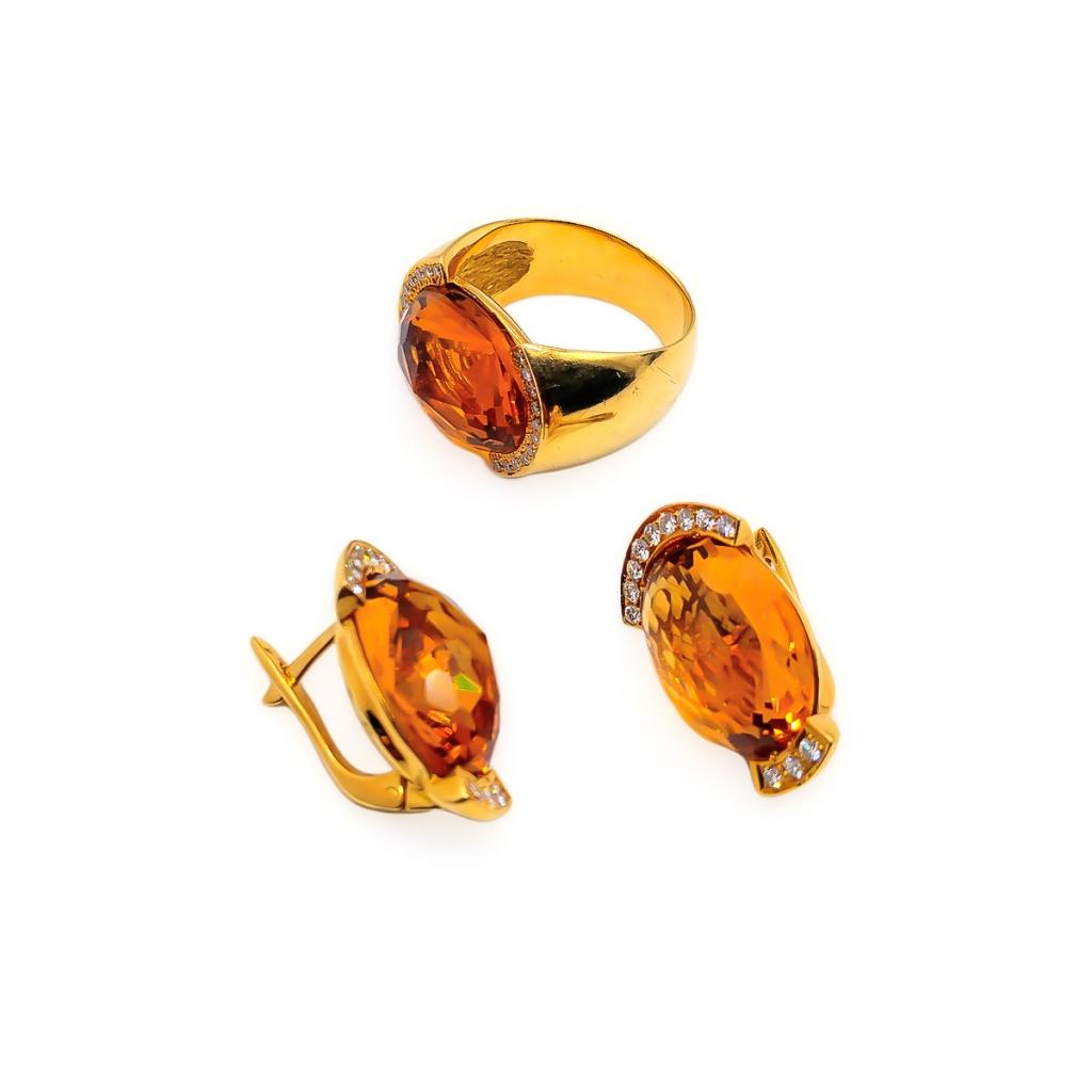 Золотой комплект с цитринами и бриллиантами-2