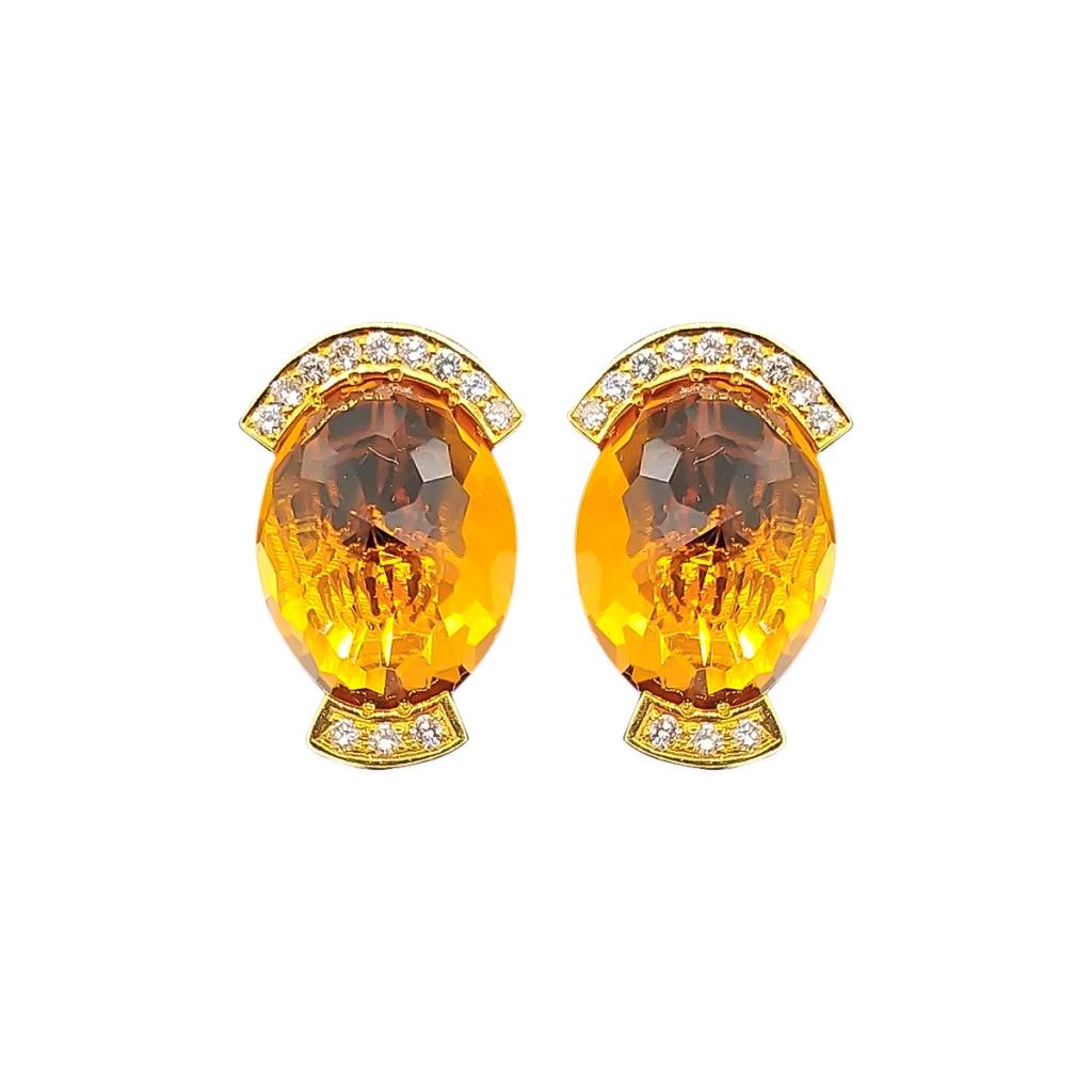 Золотой комплект с цитринами и бриллиантами-4