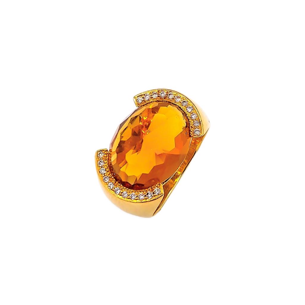 Золотой комплект с цитринами и бриллиантами-3