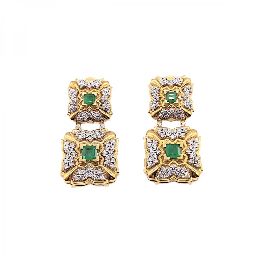 Золотые серьги с изумрудами бриллиантами-69