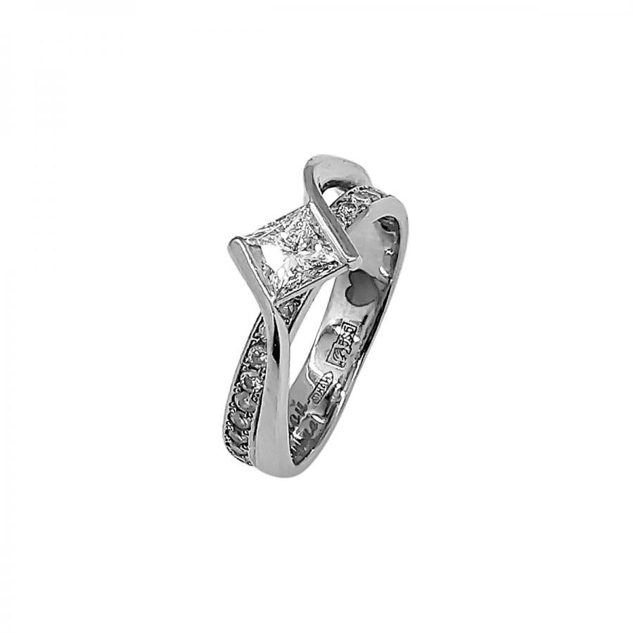 """Золотое кольцо с бриллиантом """"Принцесса"""" 0,58 ct-50"""