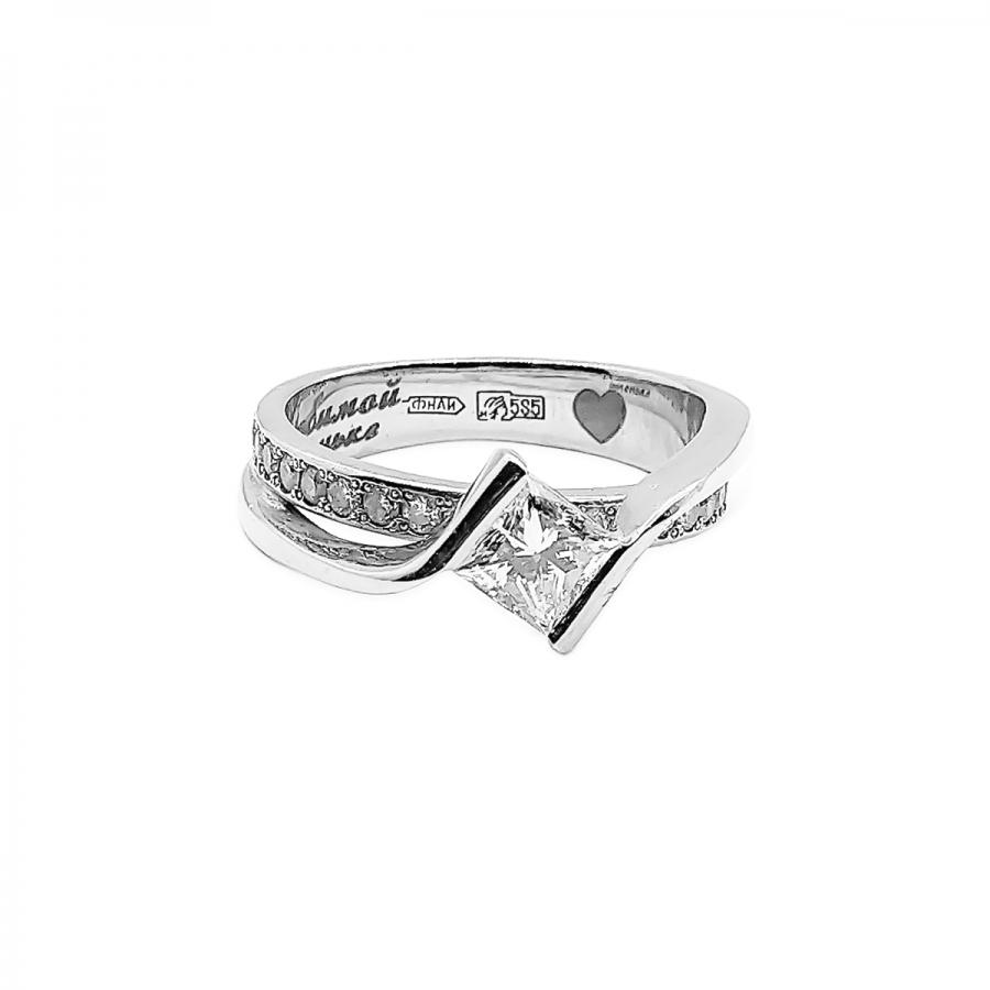 """Золотое кольцо с бриллиантом """"Принцесса"""" 0,58 ct-51"""