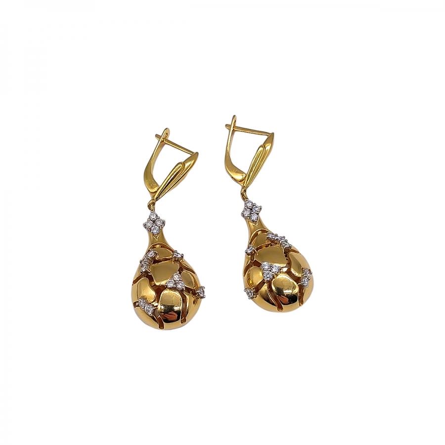 Золотые серьги с бриллиантами. ПРОДАНО-66