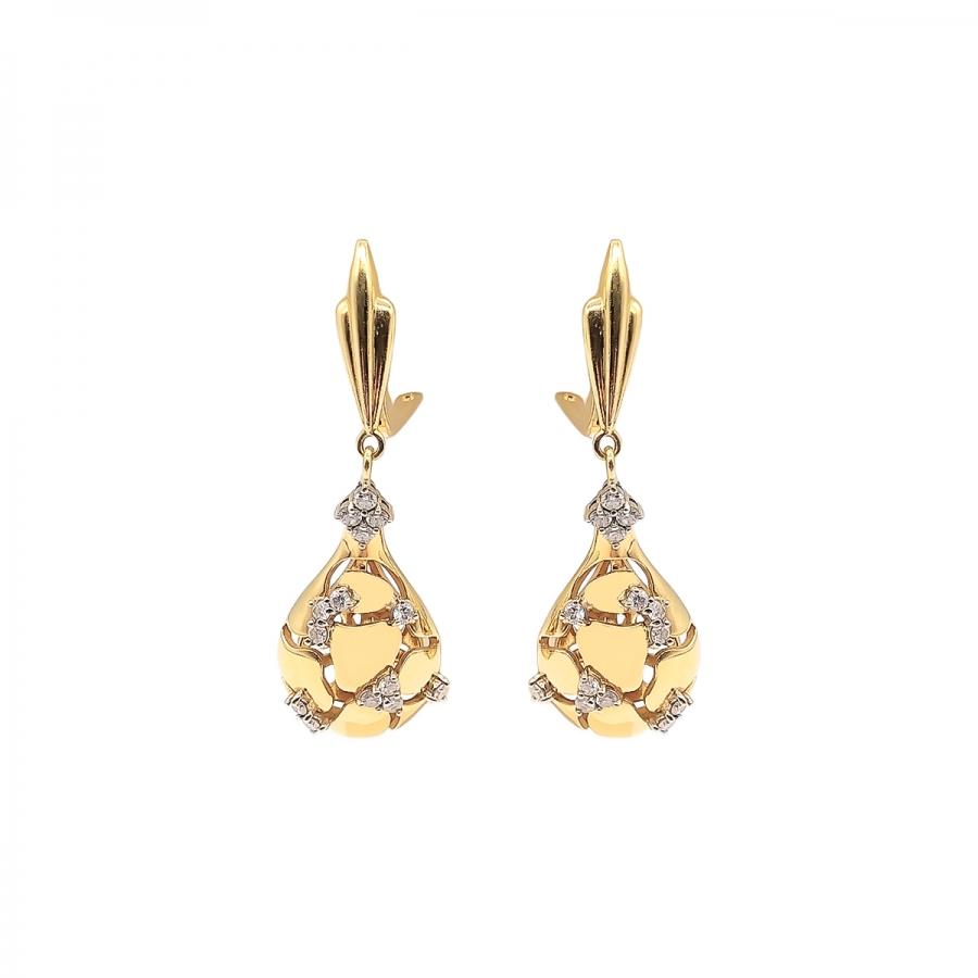 Золотые серьги с бриллиантами. ПРОДАНО-65