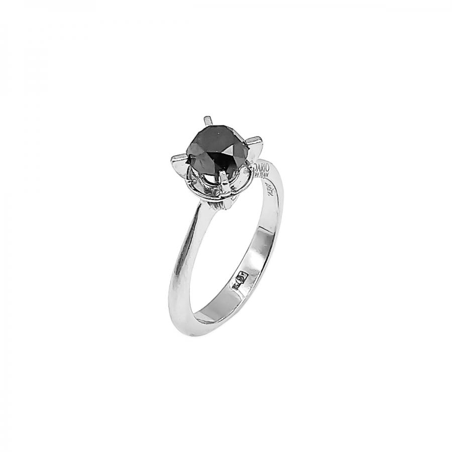Золотое кольцо с черным бриллиантом 1,1 сt-64