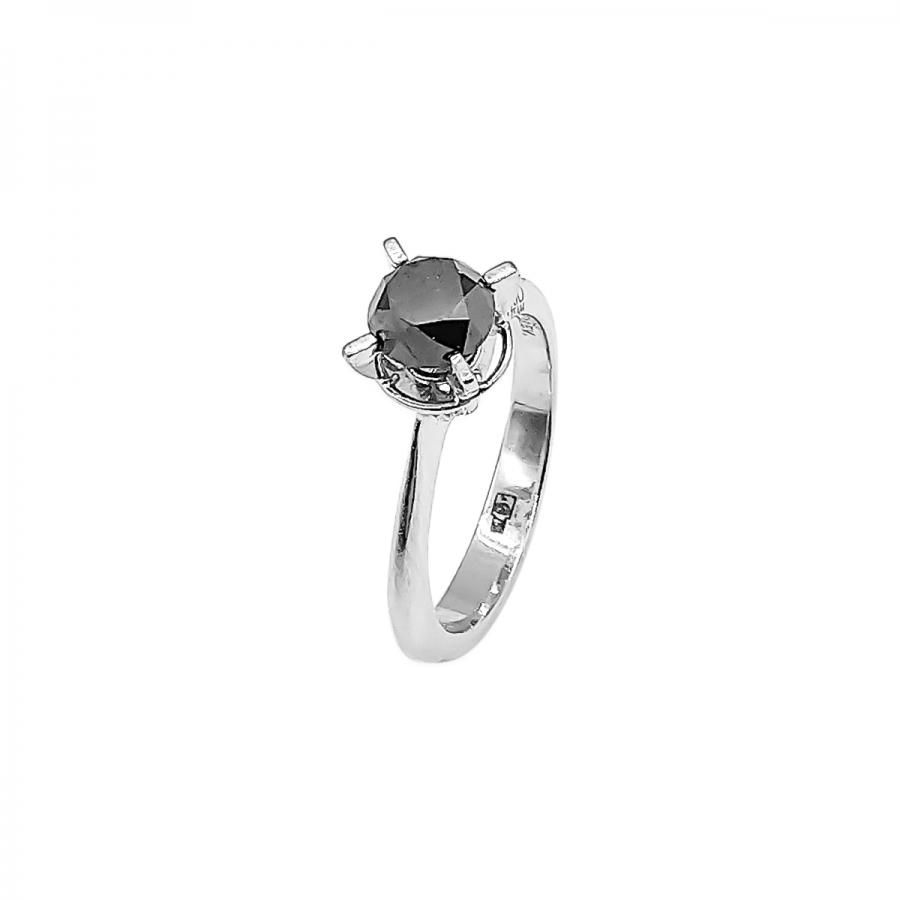 Золотое кольцо с черным бриллиантом 1,1 сt-63