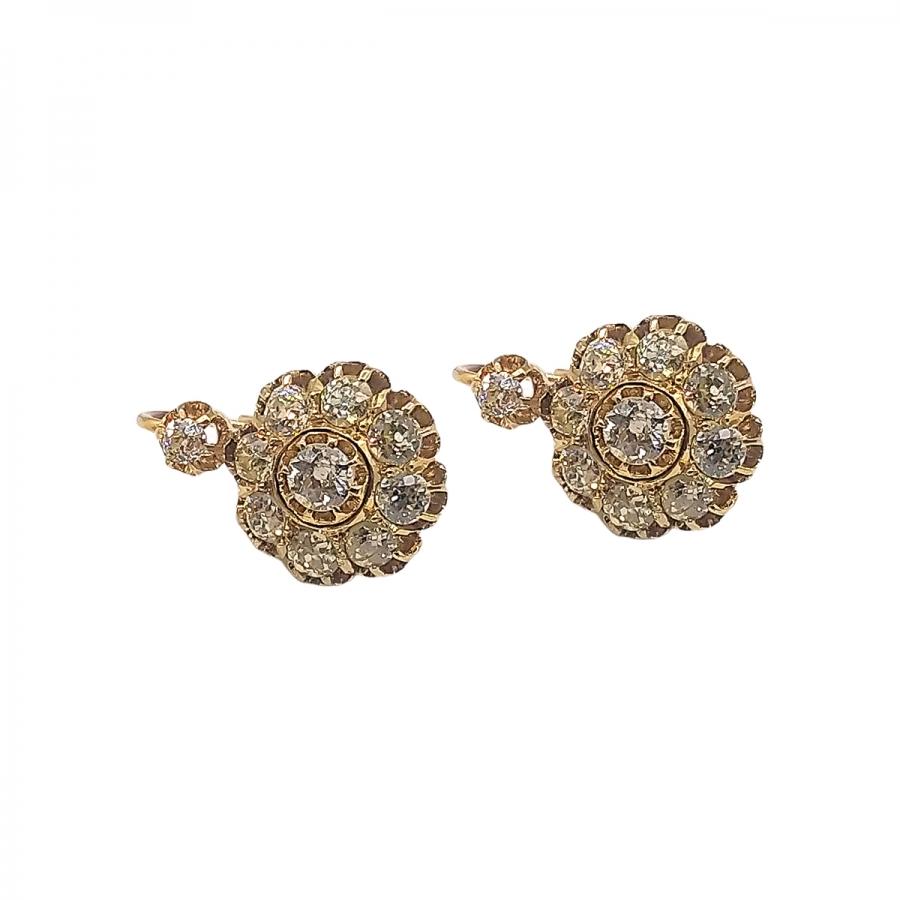 Золотые серьги с бриллиантами старинной огранки ПРОДАНО-54