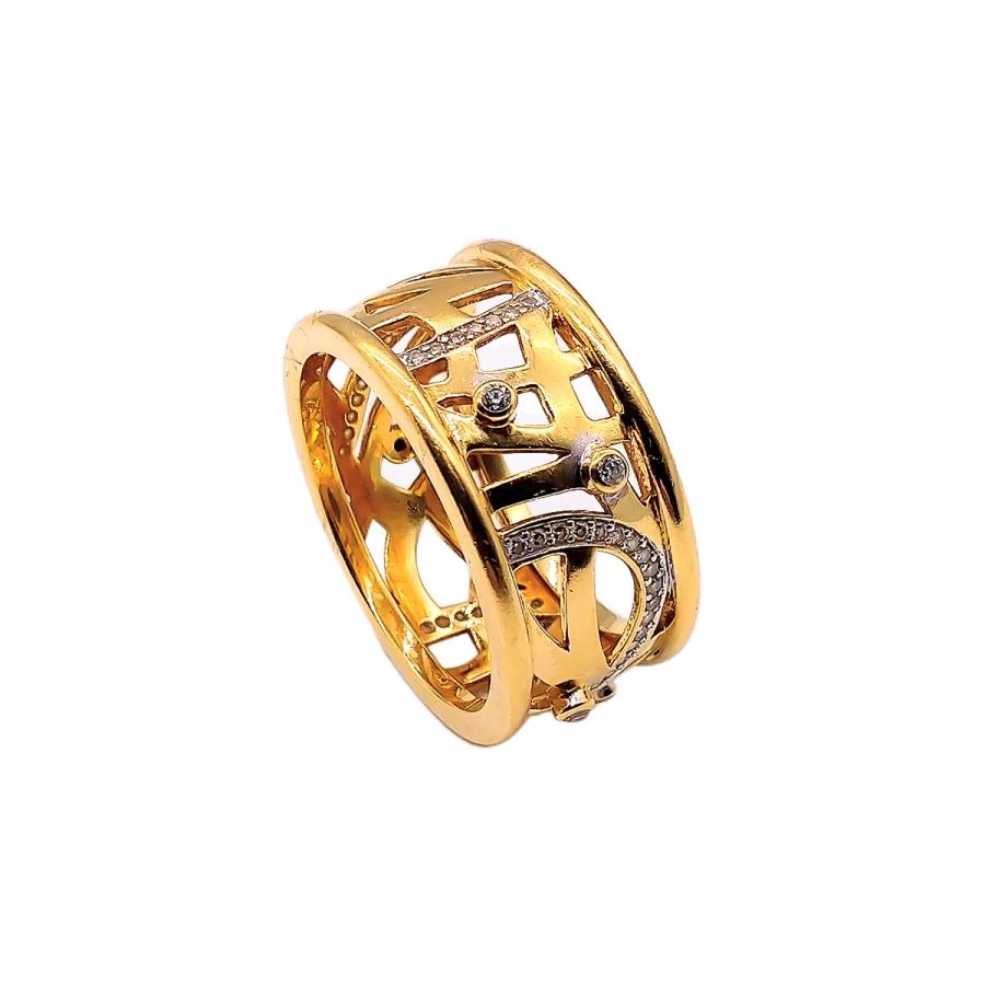 Золотое кольцо 750 пробы с бриллиантами-42