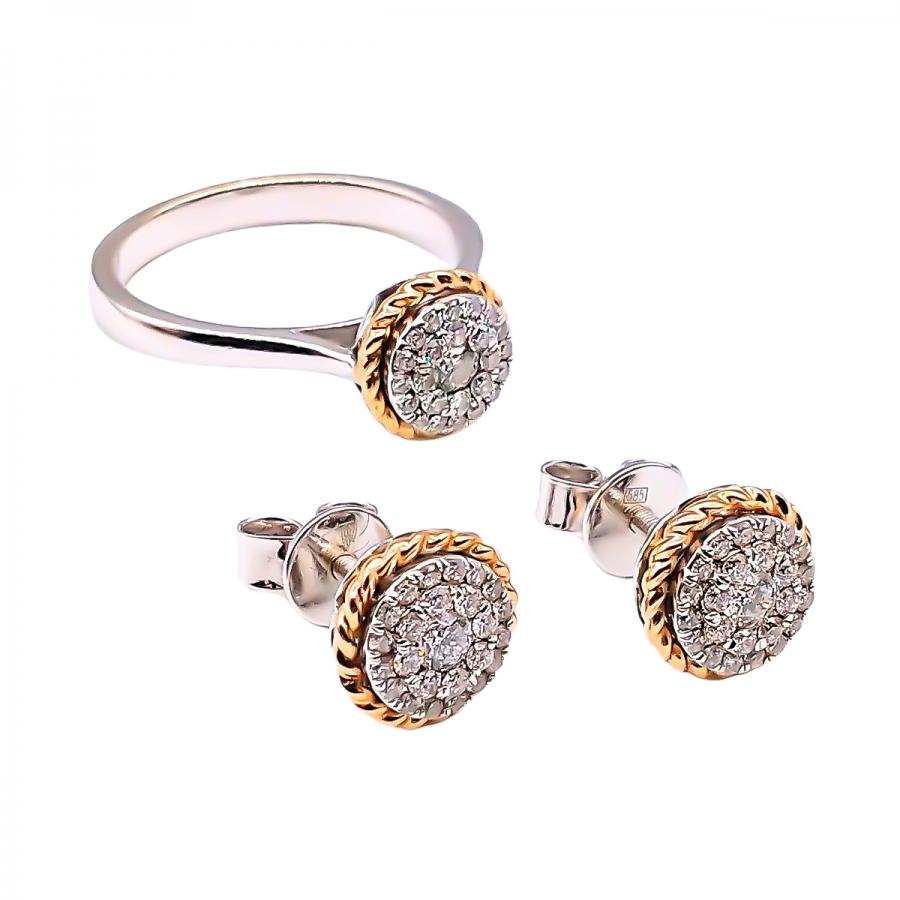 Золотой комплект с бриллиантами (Кольцо и Серьги пусеты)-22