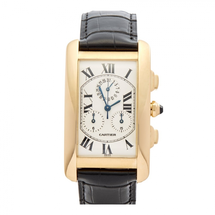 Cartier Tank Chronoflex Americaine золотые часы-7