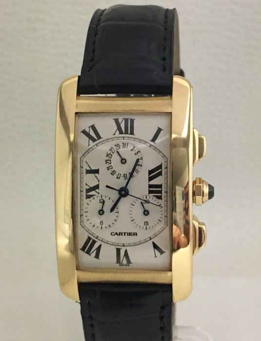 Cartier Tank Chronoflex Americaine золотые часы-8