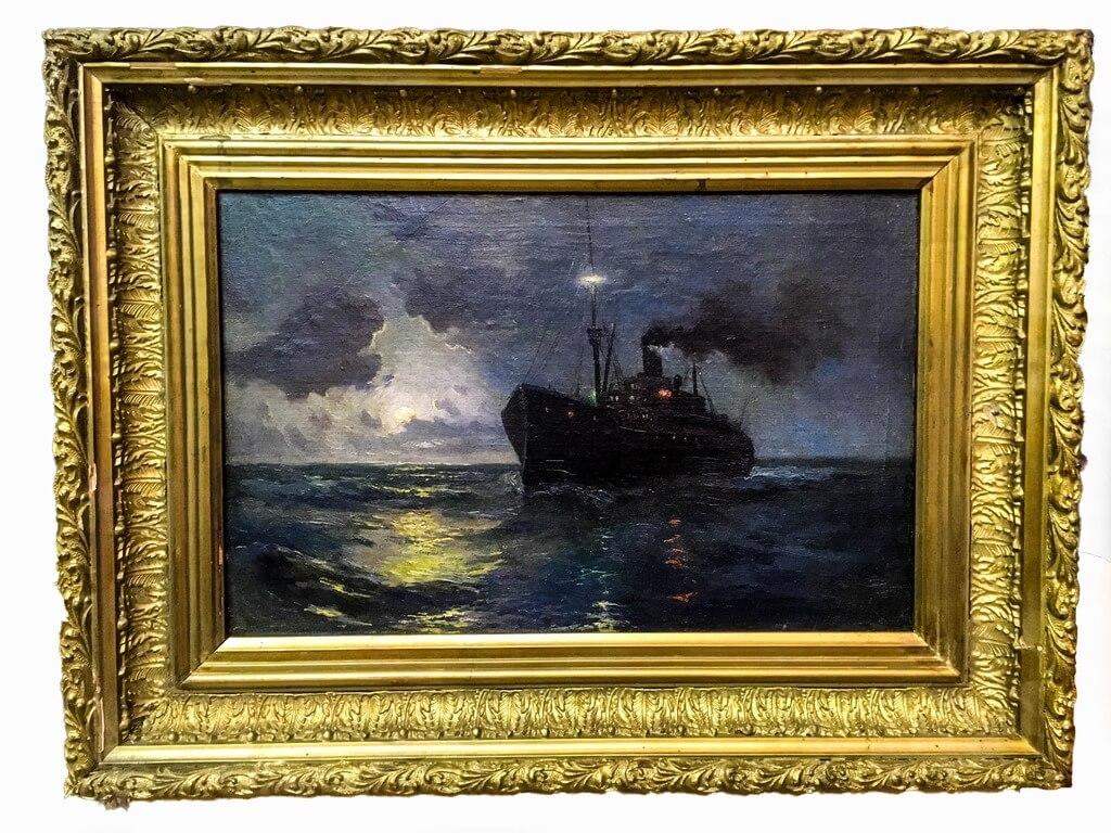 """Картина """"Морской пейзаж"""" 19 век-6"""