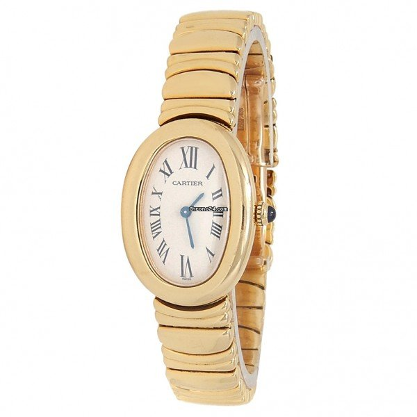 Cartier Baignoire Yellow Gold with gold bracelet женские золотые часы-41