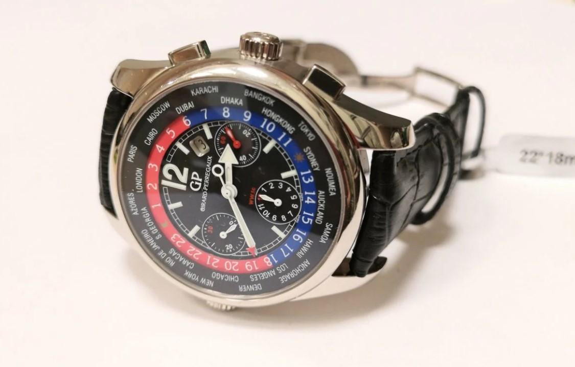 Girard-Perregaux WW.TC редкие золотые часы-29