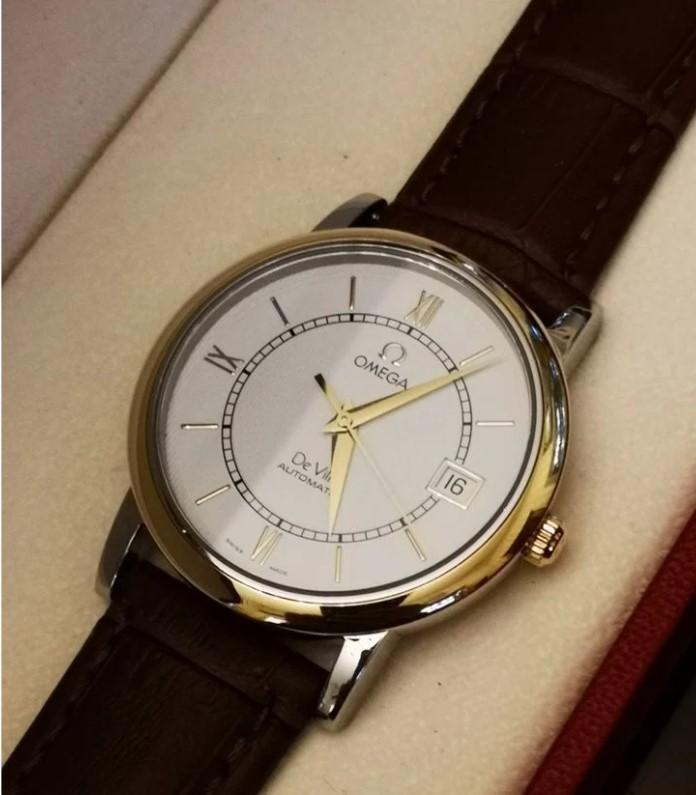 Omega DeVille Gold/Steel механические мужские часы-11
