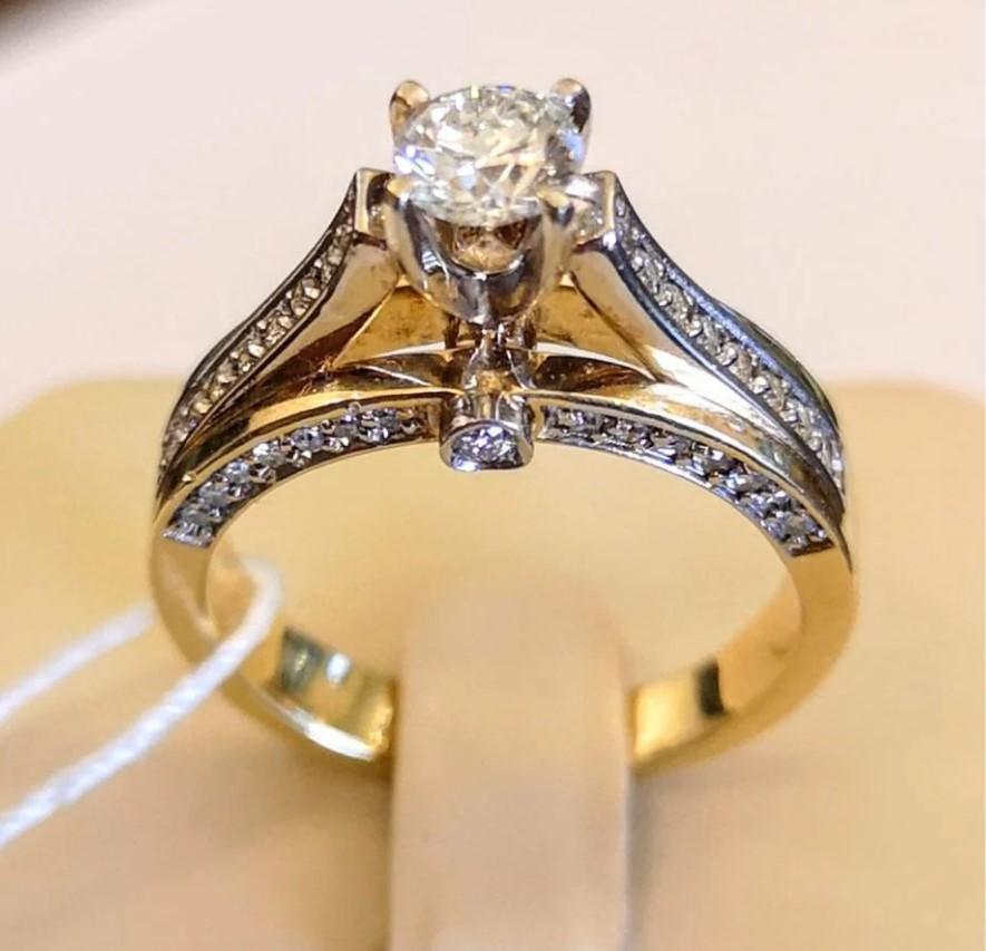 Золотое кольцо с бриллиантами-22