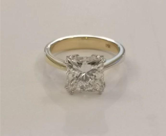 3,5 ct золотое кольцо с бриллиантом Принцесса-43