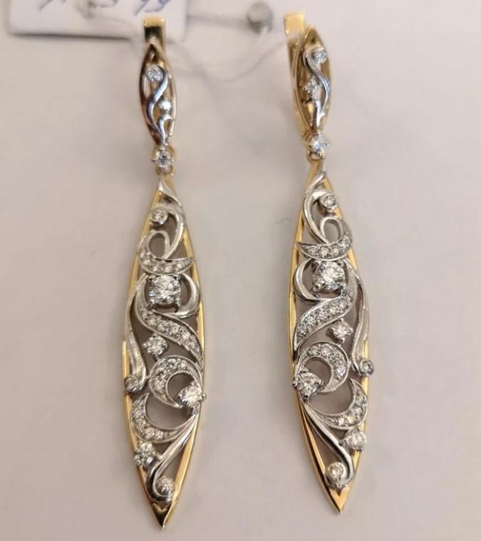 Новые золотые серьги с бриллиантами-22