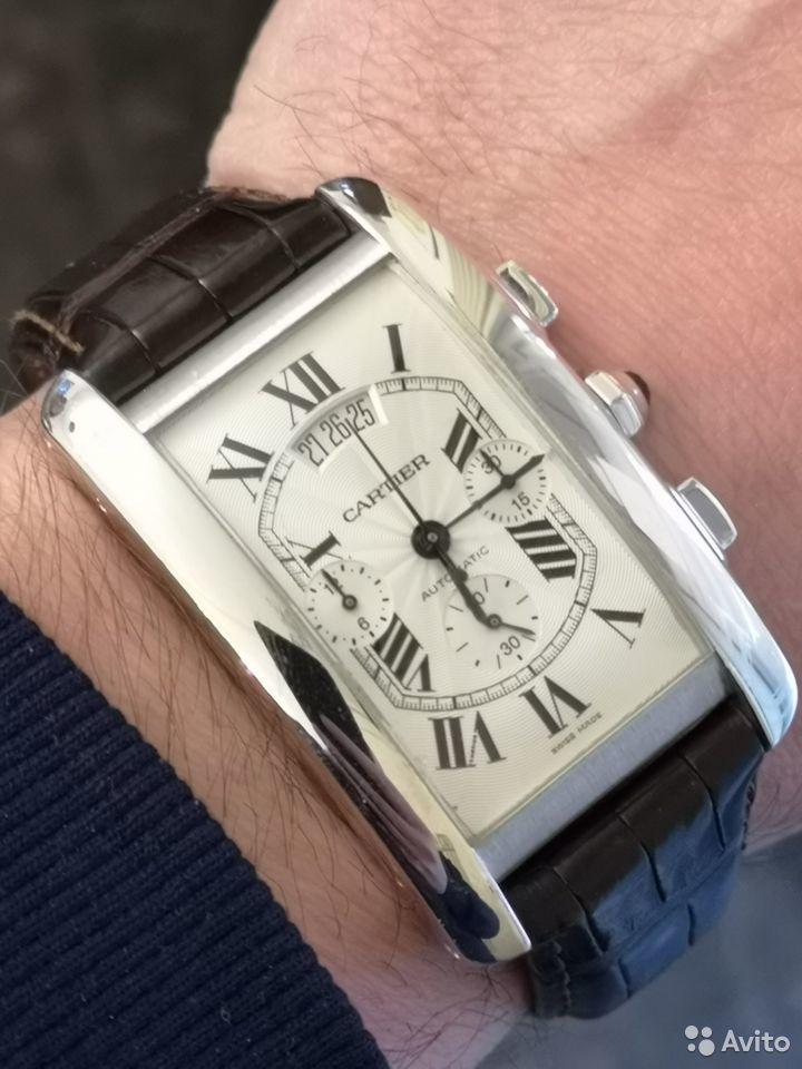 Cartier Tank Chronoflex Americaine White Gold механические золотые часы-35