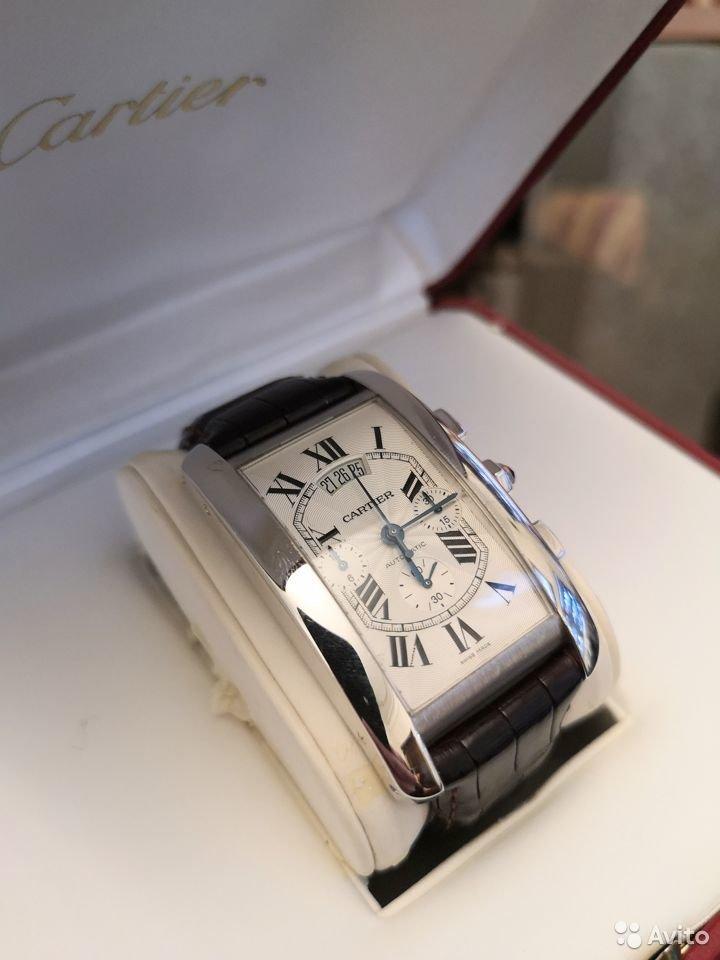 Cartier Tank Chronoflex Americaine White Gold механические золотые часы-36