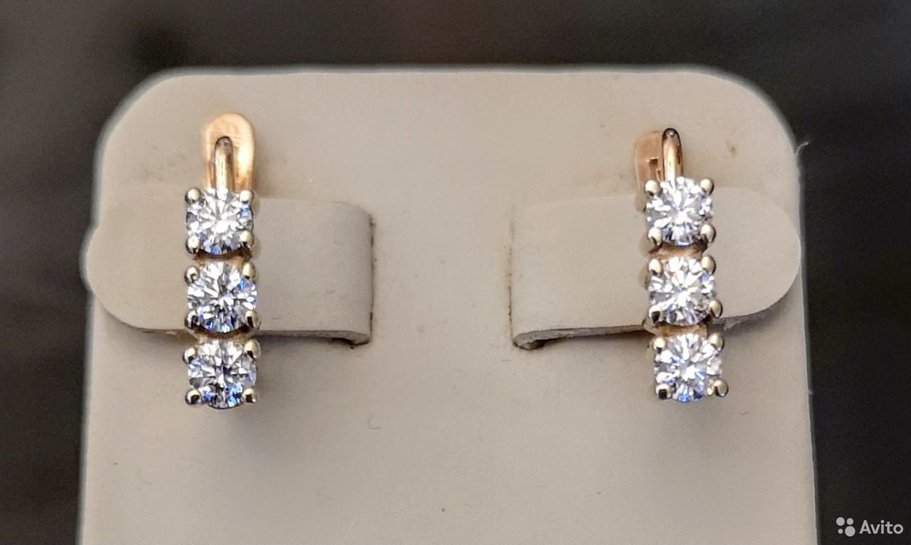 Золотые серьги с бриллиантами-13
