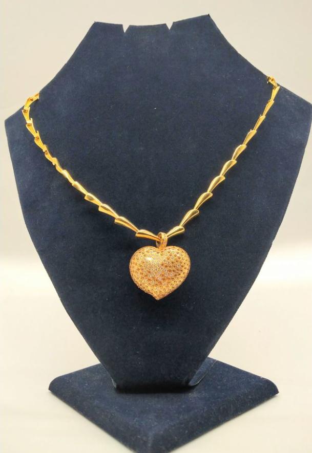 Золотое колье с бриллиантами и гранатами-7