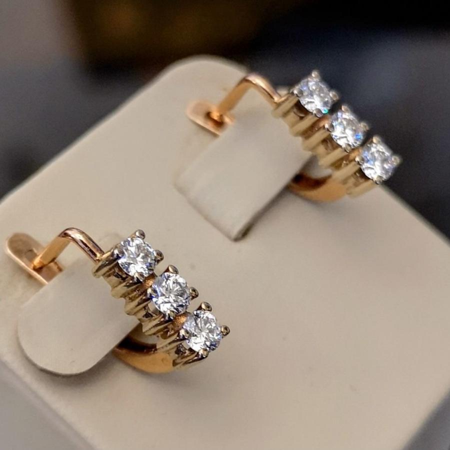 Золотые серьги с бриллиантами-14